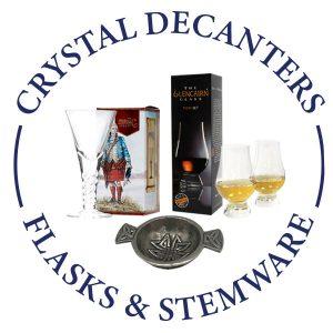 FLASKS, CRYSTAL DECANTERS & STEMWARE